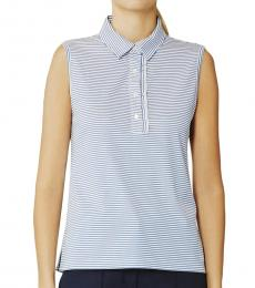 Tory Burch Light Blue Performance Striped Ruffle Polo Tee