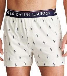 Ralph Lauren White Logo Knit Boxer Briefs