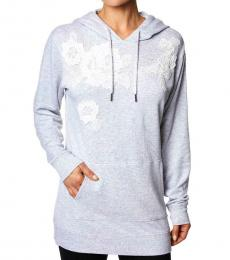 Betsey Johnson Light Grey Floral Embroidered Hoodie