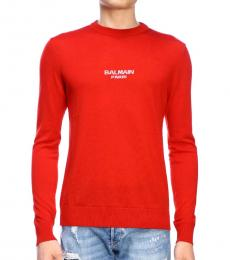 Balmain Orange Front Logo Sweater