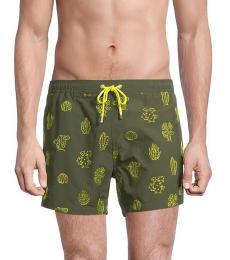 Hugo Boss Olive Shark Cactus Embroidery Swim Shorts