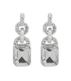 Silver Crystal Drop Earrings