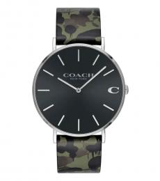 Coach Black Charles Camo Watch