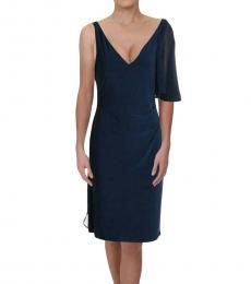 Blue Annika Ruffled V-Neck Party Dress