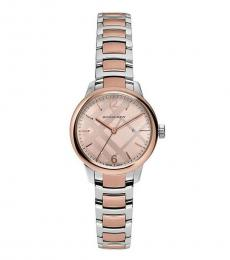 Burberry Pink Classic Two Tone Watch