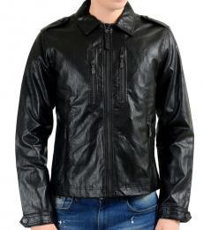 Black Faux Leather Full Zip Jacket