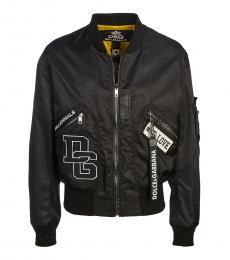 Dolce & Gabbana Black Logo Leather Jacket
