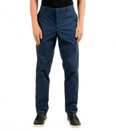 Blue Stretch Slim Casual Pants
