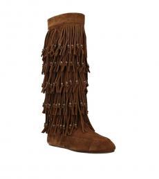 Saint Laurent Brown Fringes Detail Boots