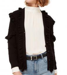 Black Ruffle Pom Cardigan