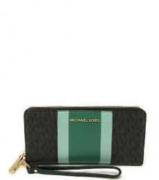 Michael Kors Brown Green Jet Set Travel Continental Wallet