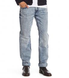 Light Blue Straight Acid Wash Jeans