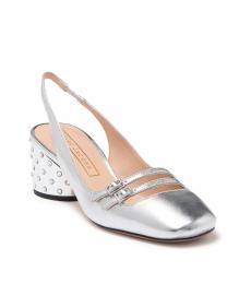 Marc Jacobs Silver Bette Slingback Heels