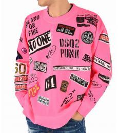 Pink Patch Printed Sweatshirt