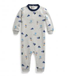Ralph Lauren Baby Boys Grey Polo Bear Coverall