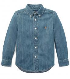 Ralph Lauren Little Boys Dark Blue Denim Shirt