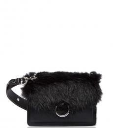 Black Faux Fur Jean Small Crossbody
