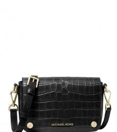 Michael Kors Black Jet Set Embossed Mini Crossbody