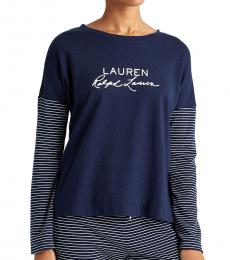 Ralph Lauren Blue Logo Pajama Top