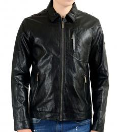 Black Leather Full Zip Jacket
