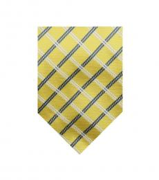 Yellow Well Tailored Plaid Silk Tie