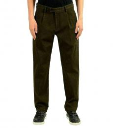 Olive Stretch Pleated Casual Pants