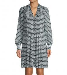 Diane Von Furstenberg Blue Printed Split-Neck Dress