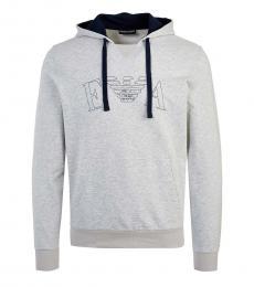 Emporio Armani Grey Front Logo Hoodie