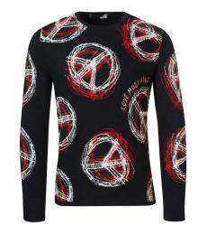 Love Moschino Black Peace Logo Sweater