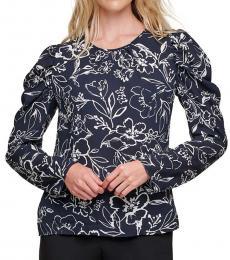 DKNY Navy Blue Floral-Print Puff-Shoulder Top