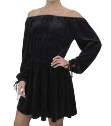 Pitch Black Velour Off Shoulder Dress