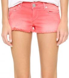 True Religion Shocking Pink Overdyed Cutoff Shorts