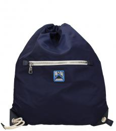 Prada Navy Drawstring Large Backpack