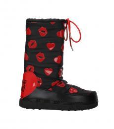 Black Heart Lip Drawstring Closure Boots