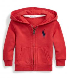 Baby Boys Red Big Pony Hoodie