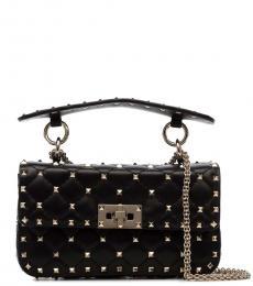 Valentino Garavani Black Rockstud Spike Small Shoulder Bag