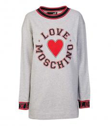 Love Moschino Light Grey Logo Long Pullover
