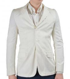 Cream White Three Buttons Blazer