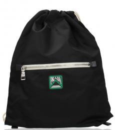 Black Drawstring Large Backpack