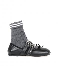 Black Dark Grey Sock Ballet Flats