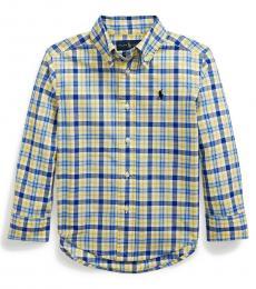 Ralph Lauren Little Boys Yellow/Blue Plaid Poplin Shirt