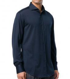 Brunello Cucinelli Navy Blue Classic Buttoned Shirt