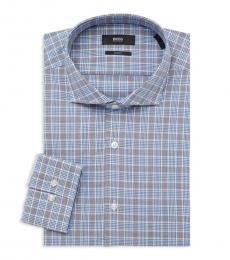Blue Slim-Fit Plaid Dress Shirt
