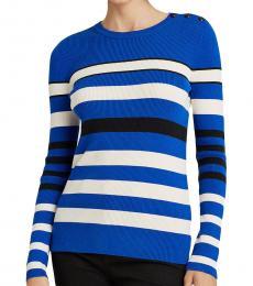 Ralph Lauren Blue Ribbed Cotton-Blend Sweater