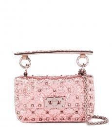 Valentino Garavani Pink Rockstud Spike Glitter Mini Shoulder Bag