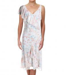 Ralph Lauren Cream Multi Floral Ruffled Midi Dress