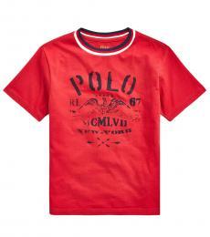 Ralph Lauren Little Boys Evening Post Red Graphic T-Shirt