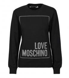 Love Moschino Black Round Neck Logo Sweatshirt