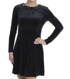 Juicy Couture Pitch Black Velour Embellished Dress