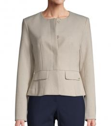 Calvin Klein Khaki Collarless Peplum Jacket